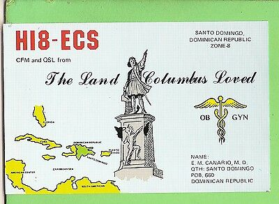 #n. Qsl Card Radio Contact Card - Hi8 Ecs,1977, Dominican Republic, Columbus