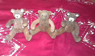 Vintage 3 Lovely Hand Made Flexible Jointed Wooden Teddy Bears