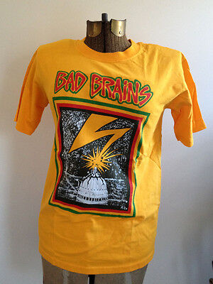 BAD BRAINS band merch t-shirt yellow unisex SMALL prototype punk DCHC hardcore
