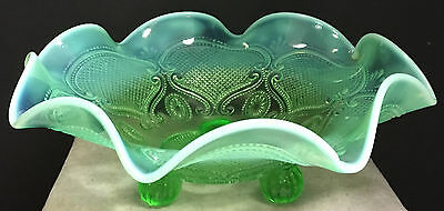 "Antique Northwood ""Lattice Medallions"" Green Opalescent Glass Footed Bowl"