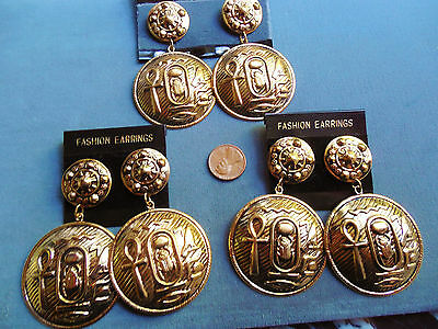 Vintage lot new old stock 3 prs huge Egyptian ankh scarab bird earrings AT13