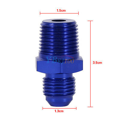 """AN6 6AN To 3/8"""" NPT Straight Fuel Oil Hose Fitting Male Adapter Blue Aluminum EB"""