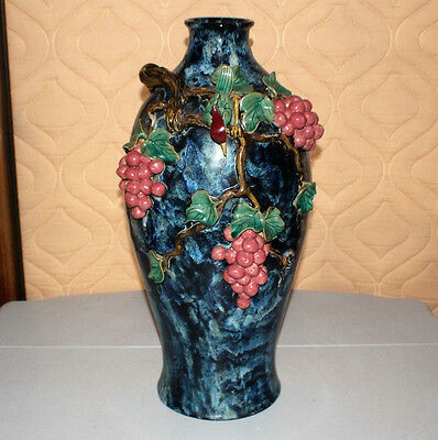 Italian Ceramic Majolica Tall Vase with Blue and Black Glaze Grapes Bird Details