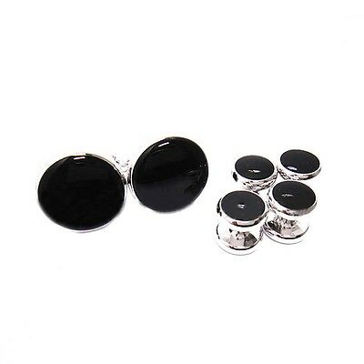 Men's Classic Round Shirt Studs Set and Cufflinks, with Black Center Silver CP