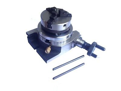 """Rotary Table Horizontal & Vertical 3""""/75mm w/65mm Lathe Chuck for MillingMachine"""