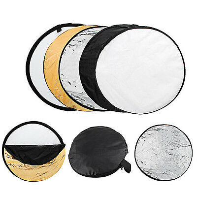 "5in1 60cm 24"" Light Diffuser Round Reflector Multi Disc + Carrying Bag Case UK"