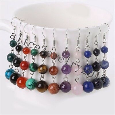 Mixed Stone Round Beads Dangling Earrings For Women Fashion Jewelry H291
