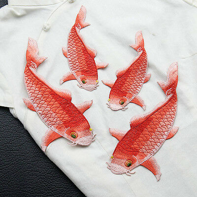 2pc Big Carp Fish Applique Sew On Patch Embroidered Animal Jacket Motif Hotfix