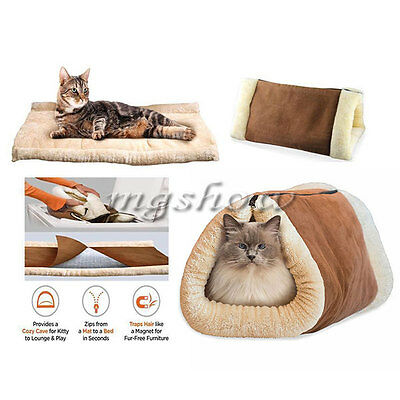 2 In 1 Magic Self Heating Thermal Pet Tunnel Bed Cat Dog Puppy & Warm Mat UK