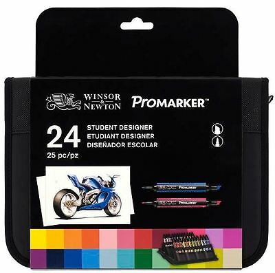Winsor & Newton Promarker 24 Student Designer - Twin Tip, Alcohol Based Markers