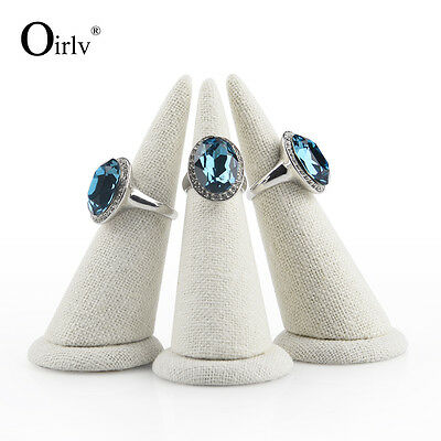Oirlv Finger Ring Display Stand Props White Linen Jewelry Display Stand Holder