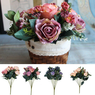 1 Large Bunch Fake Rose Artificial Flower Bouquet Home Wedding Party Decoration