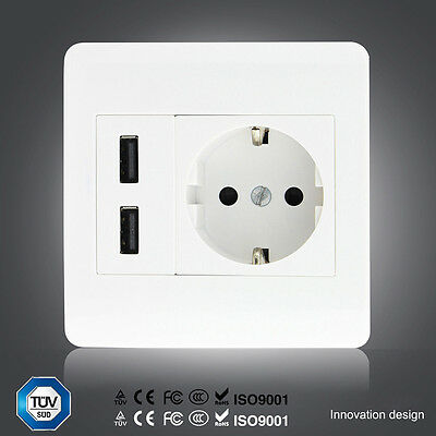 2.1A Dual USB Port Wall Socket Outlet Power Charger with Dual Switch EU Plug