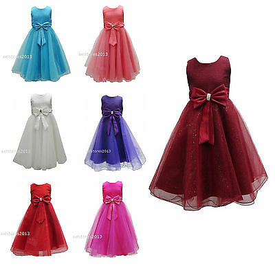 Girls Wedding Formal Bridesmaid Dress Party Size Kids Age 2 3 4 5 6 7 8 9 10 12