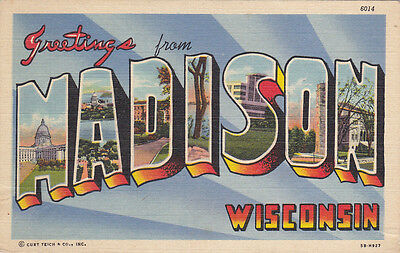 """Large Letter Greetings , """"MADISON"""" , Wisconsin , 1930-40s"""