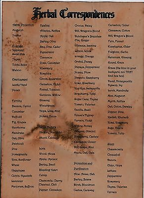 HERB CORRESPONDENCES WITCHCRAFT WICCA PAGAN Spell WITCHES MAGIC BOOK OF SHADOWS