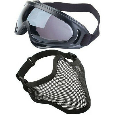 2in1 Protection Steel Mesh Face Mask w/ X400 UV Goggles Airsoft Paintball FK