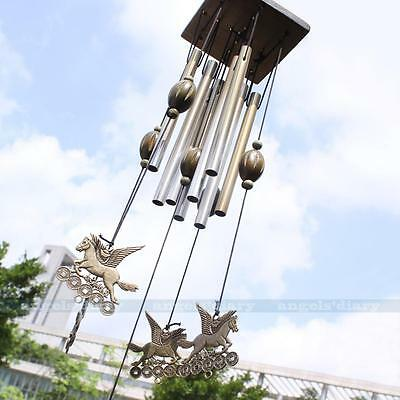 8 Metal Tubes Horse Wind Chime Living Windchime Garden Home Decor Ornaments UK