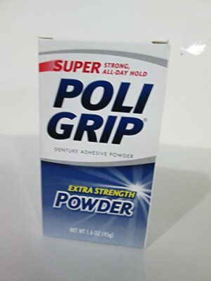 6 pk SUPER POLIGRIP Denture Adhesive POWDER 12 HR HOLD 1.6 oz denture New