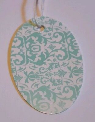 """100 3 1/2x2 1/4"""" Blue Dasmask Oval print price tags with string"""