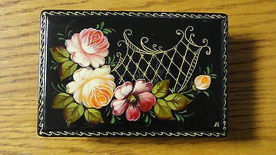 Vintage SMALL Black Laquered Trinket BOX Handmade in Russia HAND PAINTED ROSES
