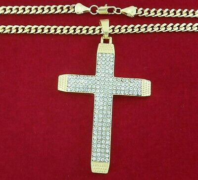 "Real 18k Yellow Gold Filled Jesus Cross 30"" Solid Franco Rope Chain Necklace 5mm"
