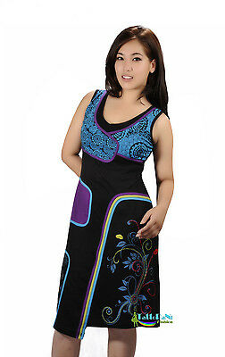 Ladies Sleevless Flower Print Pipping Dress With Patch And Embroidery - Bluebell