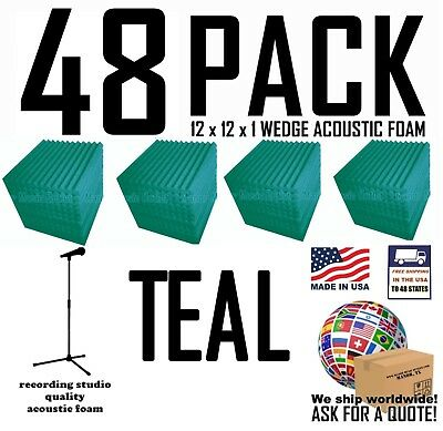 48 pack TEAL  Acoustic Wedge Studio Soundproofing Foam Wall Tiles 12x12x1 inch