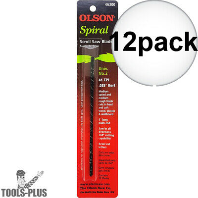 12pk #2 Spiral Tooth Scroll Saw Blade Olson 463 New