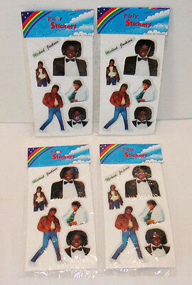 4 MICHAEL JACKSON 1980's PUFFY STICKER MINT SEALED PACKS UNUSED STORE STOCK