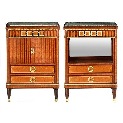 Superb Pair of French Nightstand Side Tables Cabinets by Maison Krieger c. 1880