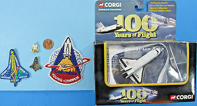 NASA LOT of 5 vtg Corgi Space Shuttle COLUMBIA Die Cast Pins Patches SPACE RACE