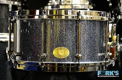 Noble and Cooley  7x14 Classic Solid Shell Maple Snare Drum Hematite Sparkle