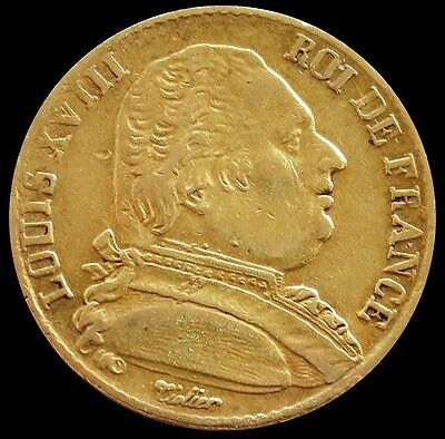 1814 Gold France 20 Francs King Louis Xviii Coin Extra Fine
