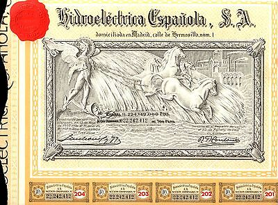 SPAIN LOT of10 LOVELY RARE ART DECO UTILITY BONDS w COUPS/3-D RED SEAL!! CV $750