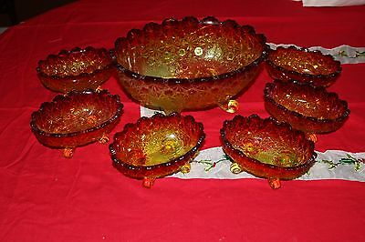 RARE LG Wright Glass Daisy & Button Amberina Berry Serving Bowl  6 Footed Bowls