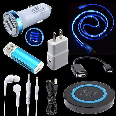 7 Accessory QI Wireless Wall Car Charger LED Cable for Samsung Galaxy S6 S7 Edge
