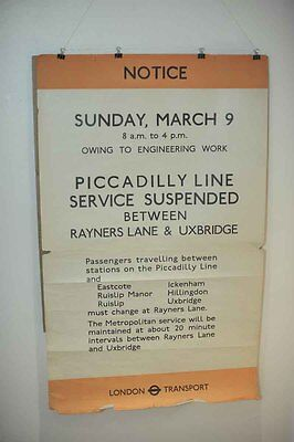 Rare WWII London Underground Tube Poster / Advertisement Piccadilly Line - 1941