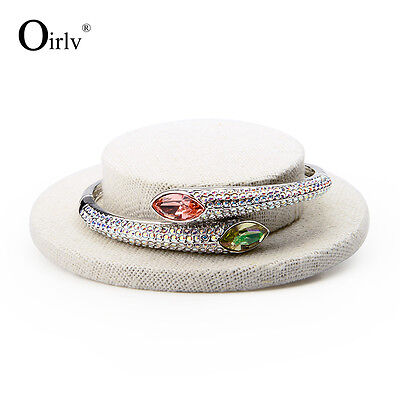 Oirlv Bracelet Holder Prop Hat Shape Jewelry Bangle Display Stand Beige Linen