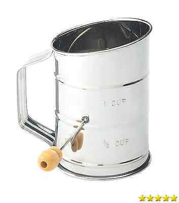 Mrs. Anderson's Baking Hand Crank Flour Icing Sugar Sifter, Stainless Steel, New
