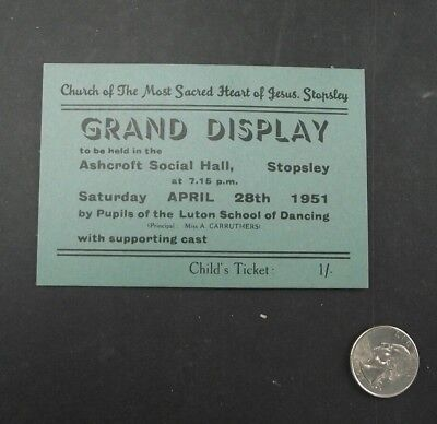 Grand Display Childs Ticket Stopsley Church Of Most Sacred Heart 1951
