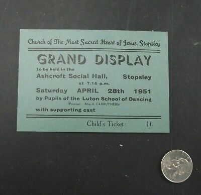 Grand Display Childs Ticket Stopsley England Church Of Most Sacred Heart 1951