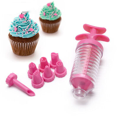 9PC Nozzles Tool Cake Decorating Icing Piping Syringe Tips Muffin Pastry Pen Bag