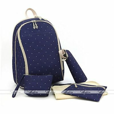 Navy Blue Multifunction Diaper Baby Nappy Bags Capacity Mummy HandBags Backpack