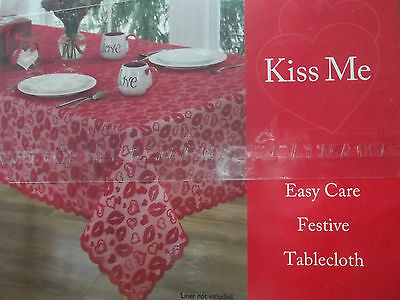 "Valentine's Day Red Lace ""Kiss Me"" Tablecloth 52"" x 70"" Oblong ~ NEW!!!"
