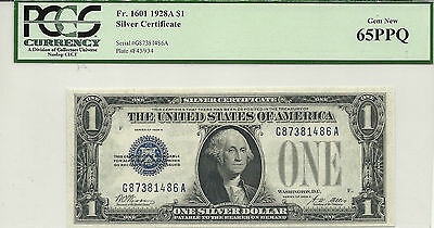 1928A $1 Silver Certificate Funny Back PCGS MS 65PPQ Fr# 1601 Gem Uncirculated