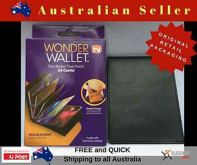 NEW - Wonder Wallet, As Seen On The TV - Amazing Slim RFID Wallets Black Leather