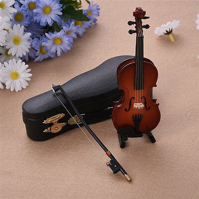 New Mini Violin Miniature Musical Instrument Wooden Model with Support and Case