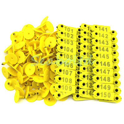 Goat Sheep Pig 101-200 Number Plastic Livestock Ear Tag With Yellow Color