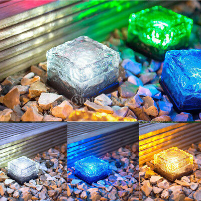 Solar Powered Ice LED Glass Brick Light Ice Cube Outdoor Path Garden Patio Decor